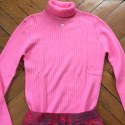 Pull col roulé vintage Courreges rose
