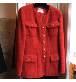 Veste CHANEL vintage tweed rouge taille 38