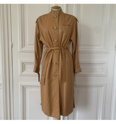 Trench coat cuir seventies peach TS/M